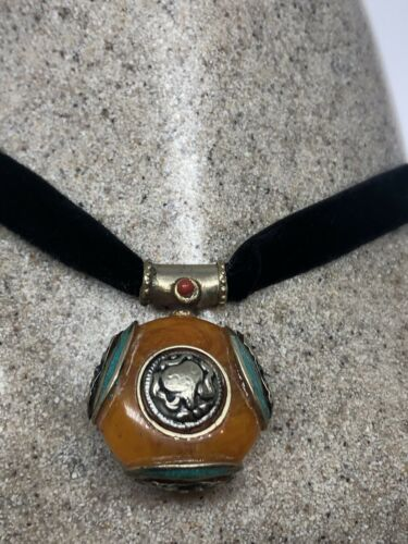 Vintage Compressed Amber Turquoise Inlay White Bronze Necklace