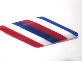 LARGE THICK LUCITE PIN RED WHITE BLUE STRIPED MID CENTURY CHUNKY GEOMETRIC - $13.00