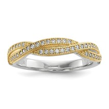 925 Sterling Silver Gold Plated Cubic Zirconia Brilliant Polished Ring S... - $35.00
