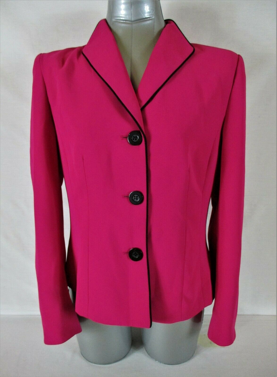 JONES STUDIO womens Sz 10 L/S hot pink FULLY LINED button down jacket (B4)