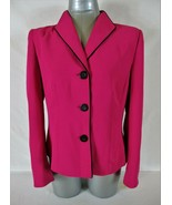 JONES STUDIO womens Sz 10 L/S hot pink FULLY LINED button down jacket (B4) - $56.88