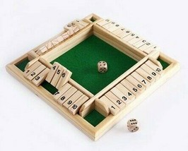 Wooden Traditional Four Sided 10 Number Pub Bar Board Dice Party Funny G... - $27.71