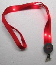Blinking LED Light Up RED LANYARD KEY CHAIN Ring Keychain ID Holder NEW - $12.99
