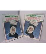 2 Christmas Stockings  ANTIQUE SANTA Counted Cross Stitch Kits Bucilla 8... - $38.56