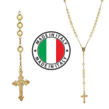 "Rosary Beads Necklace 24"" 14k Gold Over Solid 925 Sterling Silver Unisex... - $66.61"