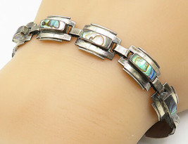 MEXICO 925 Silver - Vintage Abalone Shell Square Link Chain Bracelet - B... - $45.94