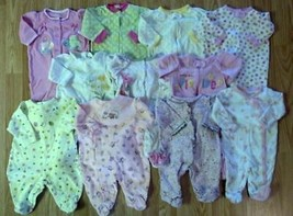 Lots of Girl's Size 0-3 M Months One Piece Footed Pajama Sleep Outfits C... - $3.00+