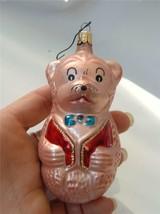 Vintage Glass Xmas Ornament Pink Teddy Bear Red Vest Blue Bowtie Figural... - $14.84