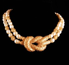 Vintage Couture Pearl necklace - Mary McFadden Love knot wedding choker - design image 3