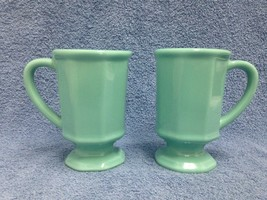 H F Coors Set of 2 Coffee Cups Blue Mid Century Vintage U.S.A. #1830 GUC - $18.88