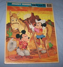1983 Walt Disney's Mickey Mouse Golden Frame-Tray Puzzle-Western Scene - $9.50