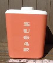 Lustro Ware Sugar Plastic Canister with Cream Top Red Melon Color No 112... - $16.34