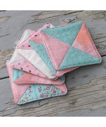 Fabric Drink Coaster Set - Six Quilted Coasters - Pretty and Pink - $12.50