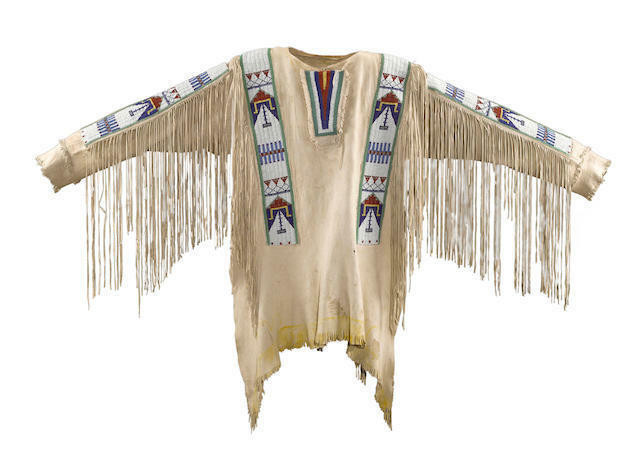 Mens Native American Buckskin Beige Buffalo Suede Leather Beads War Shirt WS138