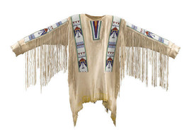 Mens Native American Buckskin Beige Buffalo Suede Leather Beads War Shir... - $449.10