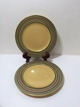 "2 Salad Plates Triana Handpainted Earthenware Pier 1 One  8.5"" Tan Green Brown - $16.44"
