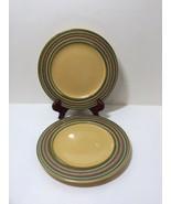 "2 Salad Plates Triana Handpainted Earthenware Pier 1 One  8.5"" Tan Green... - $16.44"