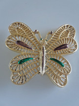 Vintage Signed Gerry's Purple Green Enamel Filigree Butterfly Brooch - $4.75
