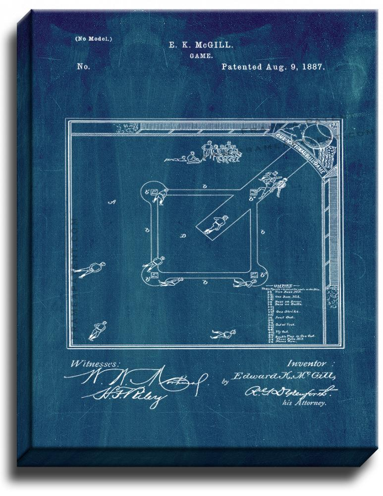 Primary image for Baseball Game Patent Print Midnight Blue on Canvas