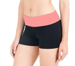 BRAND NEW FLEX WOMEN'S ATHLETIC SPORT WORK OUT GYM CARDIO SHORTS BLACK PINK 5505 image 2