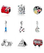 Authentic PANDORA Travel Taxi Motorcycle 925 Sterling Silver Charm Brace... - $10.95