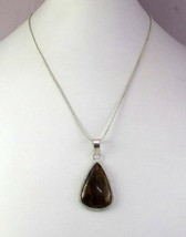 Tiger's Eye Silver Overlay Handmade Pendant With Chain R-1-14 - $2.99