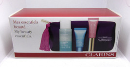 CLARINS MY BEAUTY ESSENTIALS Skin Care Set with Pouch NIB - $19.76