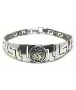Hercules - Ancient Greek Drachma Coin & Meander - Sterling Silver Bracelet  - $162.00