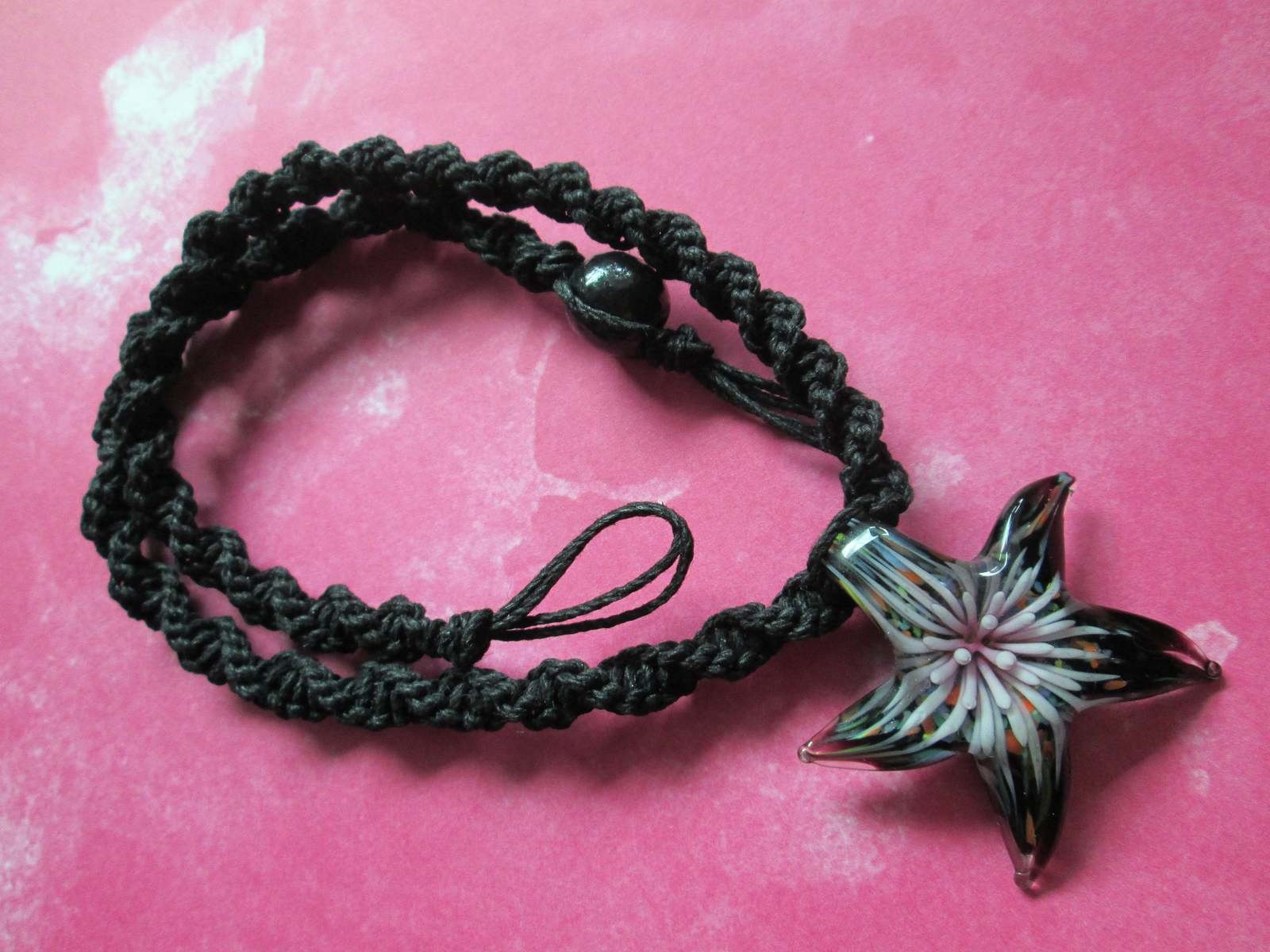 Handmade Black Hemp Necklace with Glass Pink Flower Implosion Starfish Pendant