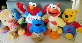 TOY Lot 5 FISHER PRICE-SESAME ST Elmo Pooh Cookie Monster MOTION All Wor... - $44.99