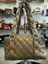 CHANEL Tan/Brown Quilted Distressed Leather Top Handle Zip Close Shoulder Bag - $1,533.41