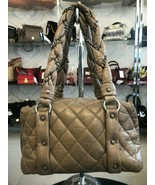 CHANEL Tan/Brown Quilted Distressed Leather Top Handle Zip Close Shoulde... - $1,533.41