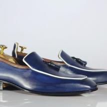 Handmade Men Blue Leather Tassels Loafers Shoes image 1