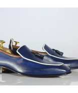 Handmade Men Blue Leather Tassels Loafers Shoes - $149.99