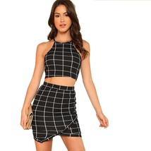 Women Clothing Set Two Piece Outfit Plaid Pattern Grid Crop Halter Top S... - $19.72