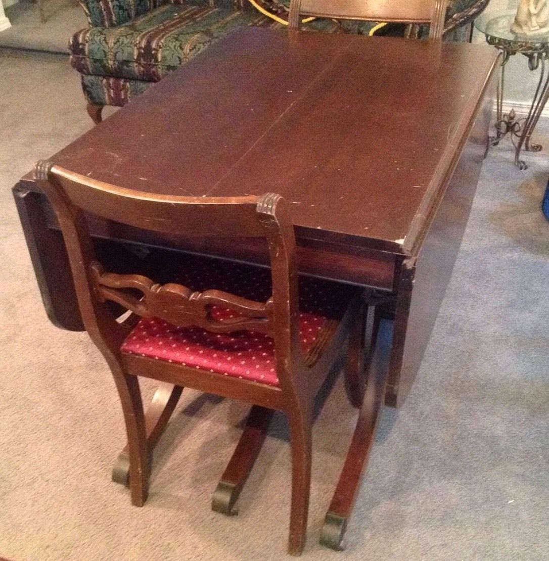 ANTIQUE Duncan Phyfe Style Drop Leaf Table 2 Duncan Phyfe Style Rose Back  Chairs - $290.25 - Duncan Phyfe Table: 19 Listings