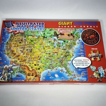 Dino's Illustrated Giant Map of the USA Jigsaw Puzzle 500 Large Pieces 2... - $18.95