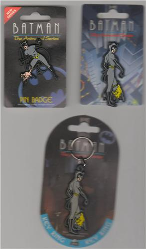 Batman Cat Woman Batman key chain Magnet and pin  European piece set
