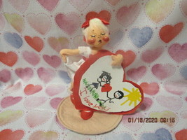 "Annalee Dolls 1994 7"" Valentine Sweetheart Girl Holding Valentine Tush Tag - $19.99"