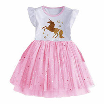 NEW Gold Unicorn Girls Pink Tutu Dress 6-7 7-8 - $16.99