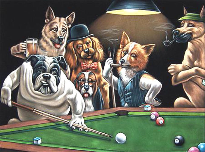 Dogs playing pool cross stitch pattern