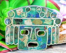Vintage Aztec Mask Brooch Pin Pendant Sterling Silver 925 Inlay Mexico - £54.30 GBP