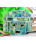 Vintage Aztec Mask Brooch Pin Pendant Sterling Silver 925 Inlay Mexico - £51.96 GBP
