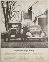 1963 Print Ad VW Volkswagen Beetle & 1929 Model A Ford Owned by Justice of Peace - $15.79