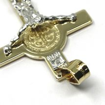 14K YELLOW WHITE GOLD BIG CROSS WITH JESUS & SAINT BENEDICT MEDAL MADE IN ITALY image 3