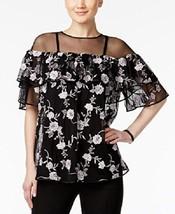 Alfani Prima Embroidered Off-The-Shoulder Illusion Top Size M # O 33 - $22.76