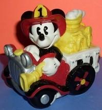 Disney Mickey Fireman Frie Engine  Music Box MIB porcelain - $112.80