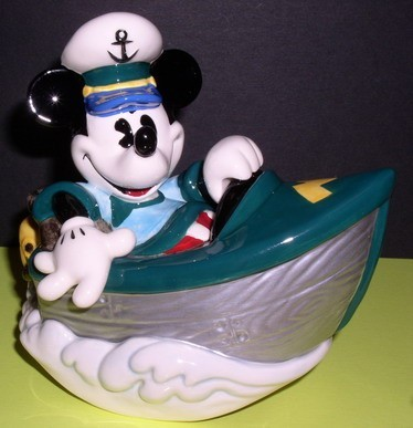 Disney Mickey Mouse Boat Music  Box MIB made of porcelain