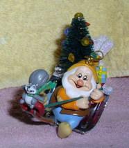 Disney Snow White Happy with Squirrel Chipmunk figurine Ornament - $22.99