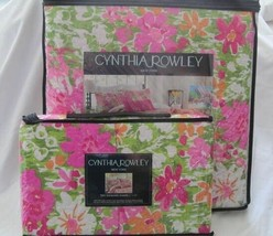 Cynthia Rowley Pink Green Tangerine Floral Full / Queen Quilt & Std Sham... - $145.00
